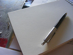 Image of pen and blank paper