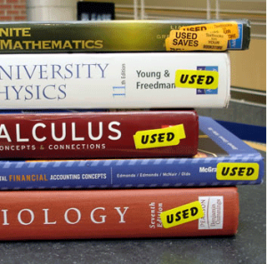 Stack of used textbooks