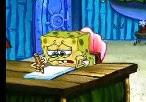 Image of Sponge Bob writing at desk